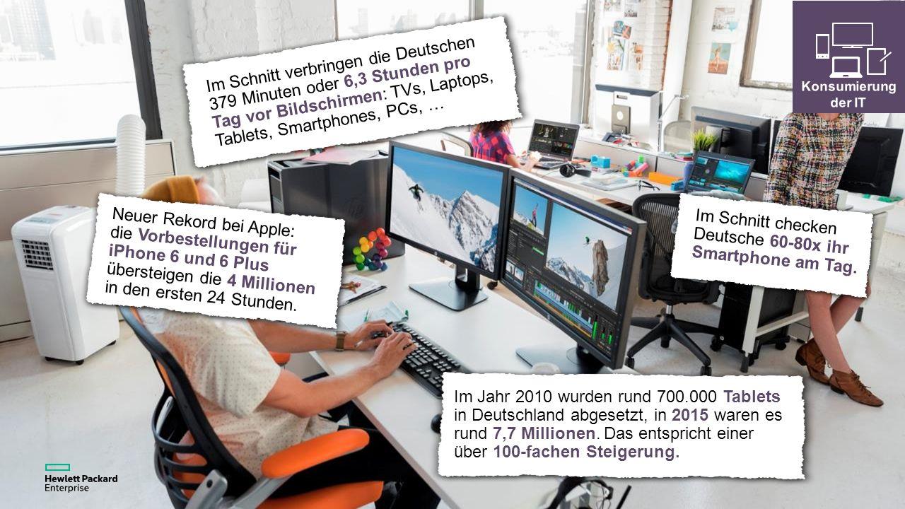 Im Schnitt verbringen die Deutschen 379 Minuten oder 6,3 Stunden pro Tag vor Bildschirmen: TVs, Laptops, Tablets, Smartphones, PCs, … Neuer Rekord bei Apple: die Vorbestellungen für iPhone 6 und 6 Plus übersteigen die 4 Millionen in den ersten 24 Stunden.