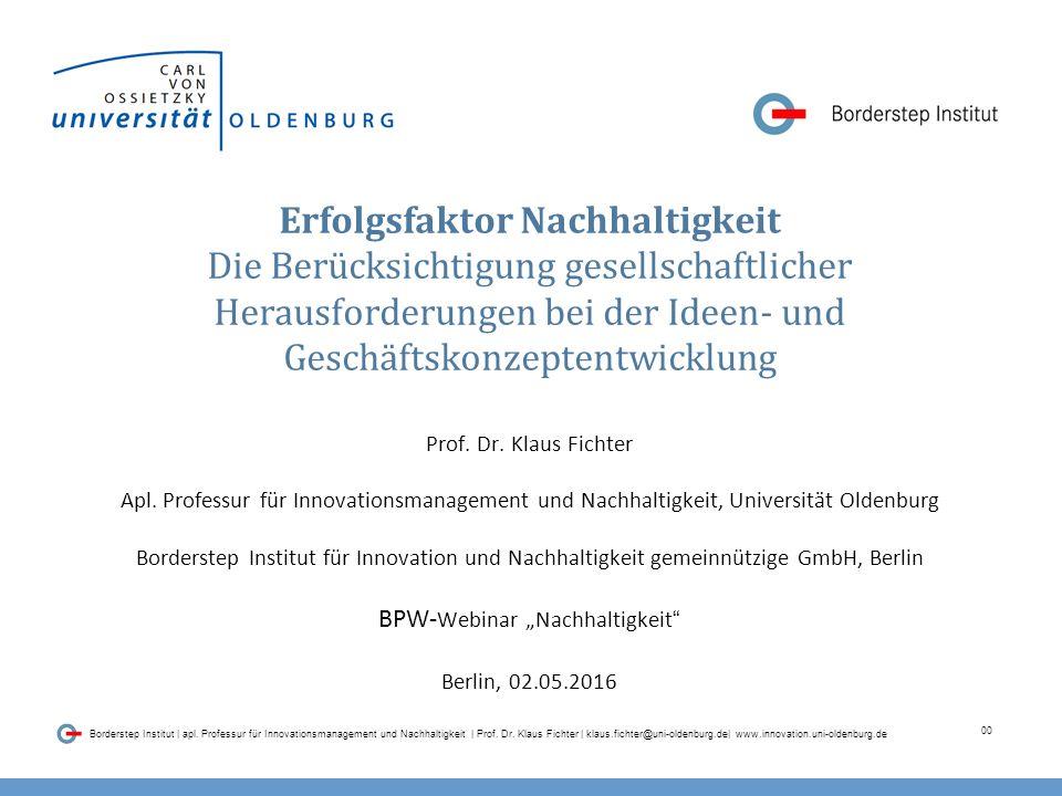 00 Borderstep Institut | apl.Professur für Innovationsmanagement und Nachhaltigkeit | Prof.