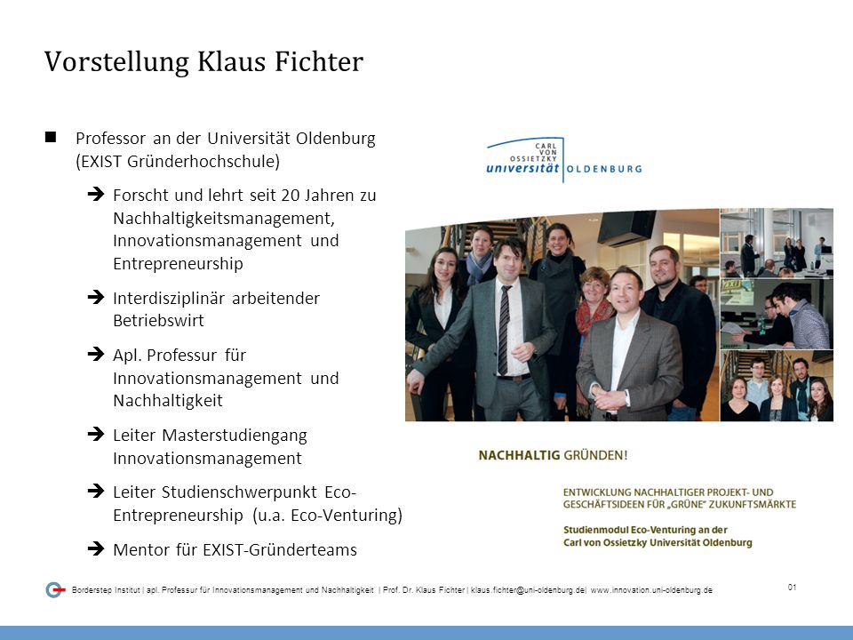 01 Borderstep Institut | apl. Professur für Innovationsmanagement und Nachhaltigkeit | Prof.