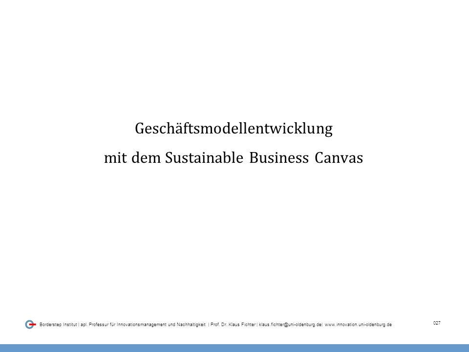 027 Borderstep Institut | apl.Professur für Innovationsmanagement und Nachhaltigkeit | Prof.