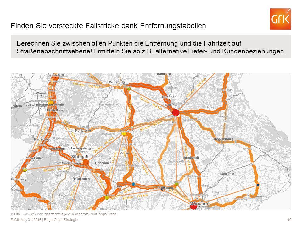 © GfK May 31, 2016 | RegioGraph Strategie 10 Berechnen Sie zwischen allen Punkten die Entfernung und die Fahrtzeit auf Straßenabschnittsebene! Ermitte