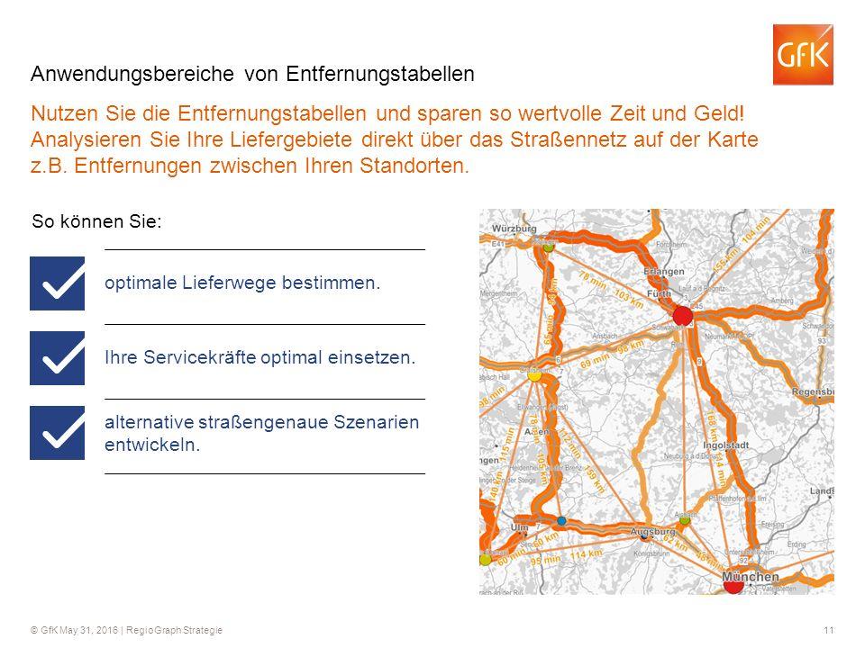 © GfK May 31, 2016 | RegioGraph Strategie 11 Anwendungsbereiche von Entfernungstabellen Nutzen Sie die Entfernungstabellen und sparen so wertvolle Zeit und Geld.