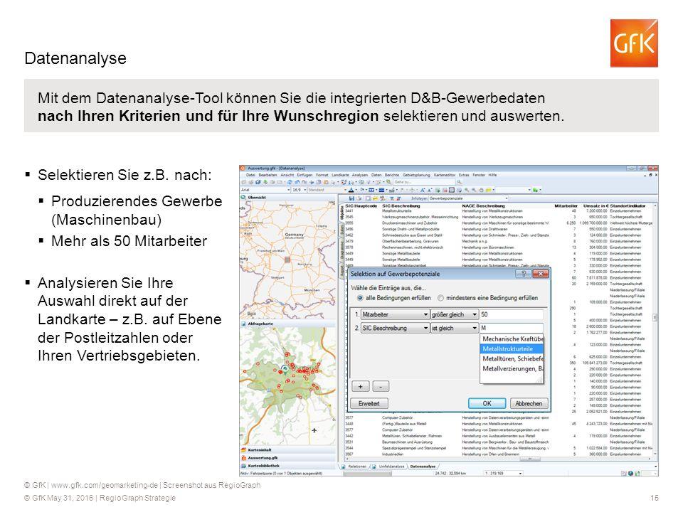 © GfK May 31, 2016 | RegioGraph Strategie 15 Mit dem Datenanalyse-Tool können Sie die integrierten D&B-Gewerbedaten nach Ihren Kriterien und für Ihre Wunschregion selektieren und auswerten.