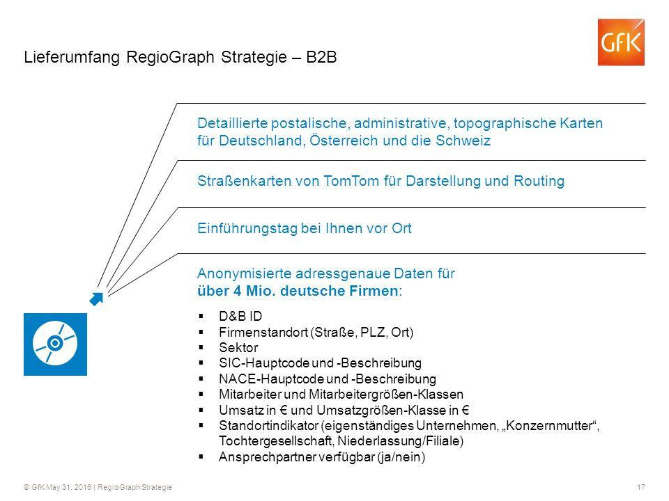© GfK May 31, 2016 | RegioGraph Strategie 17 Lieferumfang RegioGraph Strategie – B2B Detaillierte postalische, administrative, topographische Karten f