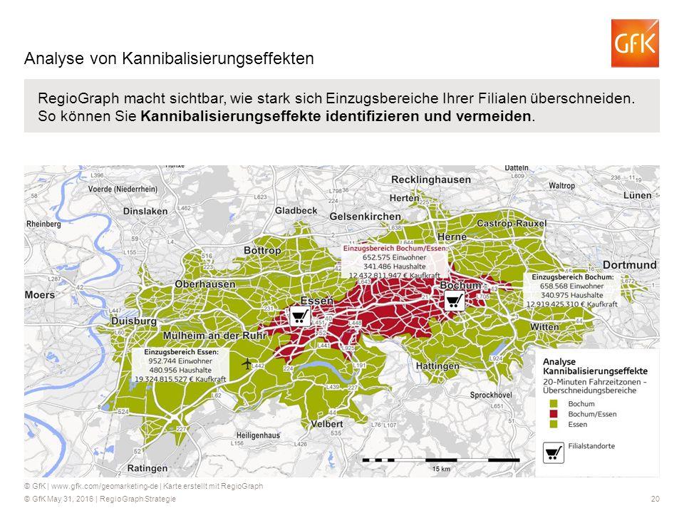 © GfK May 31, 2016 | RegioGraph Strategie 20 RegioGraph macht sichtbar, wie stark sich Einzugsbereiche Ihrer Filialen überschneiden.