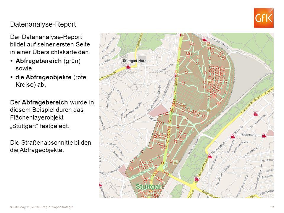 © GfK May 31, 2016 | RegioGraph Strategie 22 Datenanalyse-Report Der Datenanalyse-Report bildet auf seiner ersten Seite in einer Übersichtskarte den 