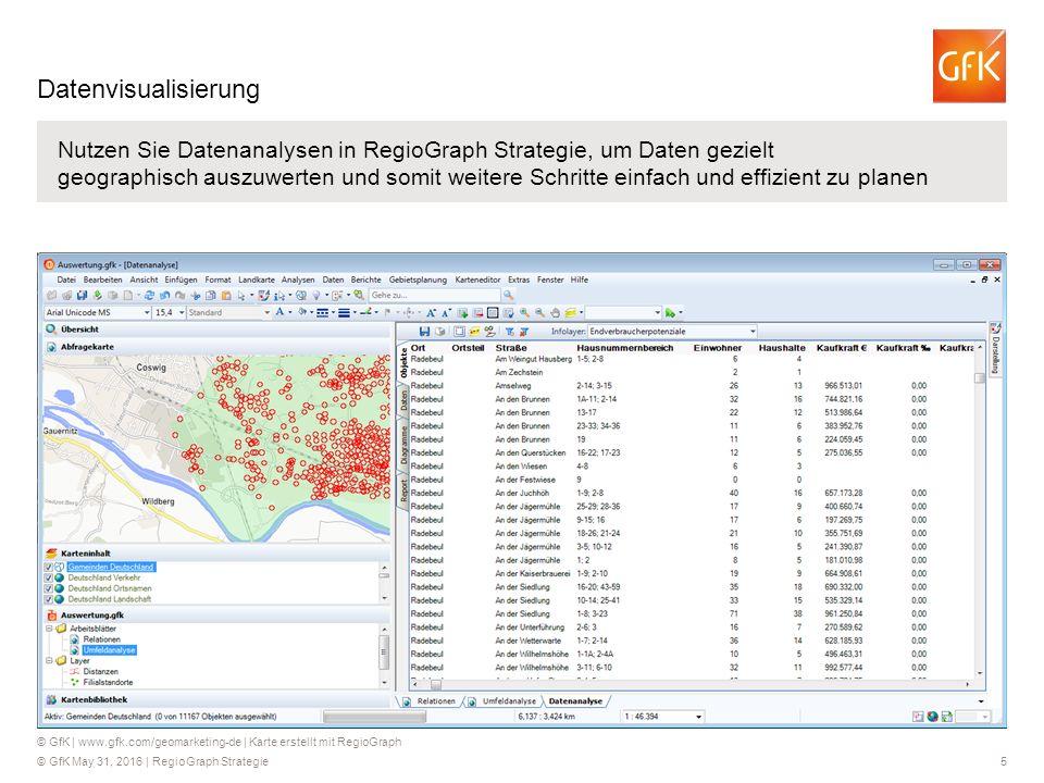 © GfK May 31, 2016 | RegioGraph Strategie 5 Nutzen Sie Datenanalysen in RegioGraph Strategie, um Daten gezielt geographisch auszuwerten und somit weitere Schritte einfach und effizient zu planen © GfK | www.gfk.com/geomarketing-de | Karte erstellt mit RegioGraph Datenvisualisierung