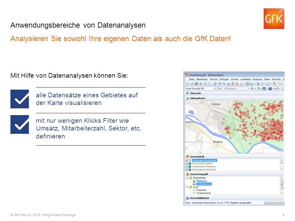 © GfK May 31, 2016 | RegioGraph Strategie 6 Anwendungsbereiche von Datenanalysen Analysieren Sie sowohl Ihre eigenen Daten als auch die GfK Daten! Mit