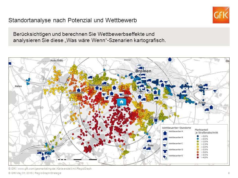 © GfK May 31, 2016 | RegioGraph Strategie 19 Mit RegioGraph können Sie über die Fahrdistanz, nach Fahrzeit oder - standortspezifisch modelliert - nach Wettbewerbsbedingungen Ihre Einzugsbereiche analysieren und bewerten.