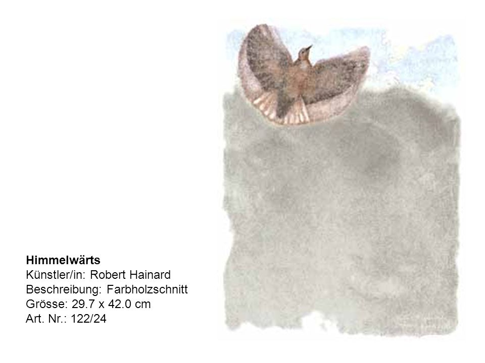 Himmelwärts Künstler/in: Robert Hainard Beschreibung: Farbholzschnitt Grösse: 29.7 x 42.0 cm Art.