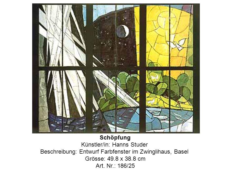 Schöpfung Künstler/in: Hanns Studer Beschreibung: Entwurf Farbfenster im Zwinglihaus, Basel Grösse: 49.8 x 38.8 cm Art.