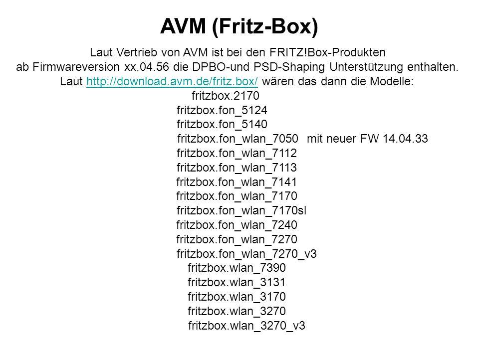 AVM (Fritz-Box) Laut Vertrieb von AVM ist bei den FRITZ!Box-Produkten ab Firmwareversion xx.04.56 die DPBO-und PSD-Shaping Unterstützung enthalten.