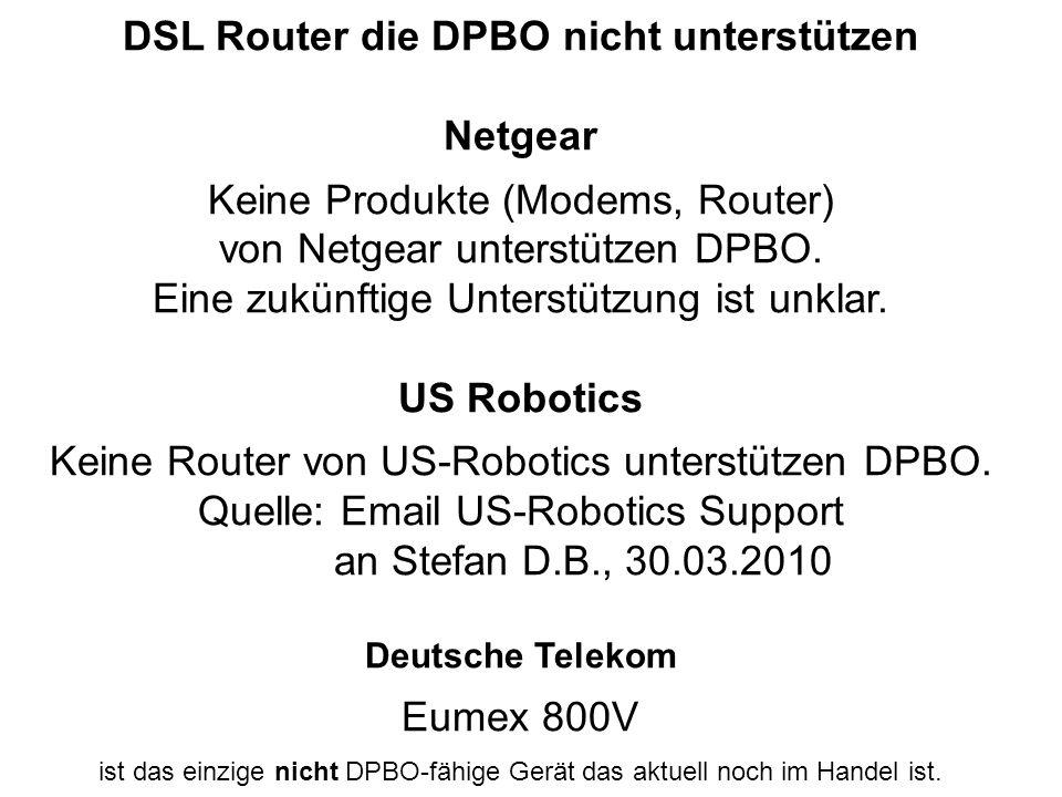 DSL Router die DPBO nicht unterstützen Netgear Keine Produkte (Modems, Router) von Netgear unterstützen DPBO.