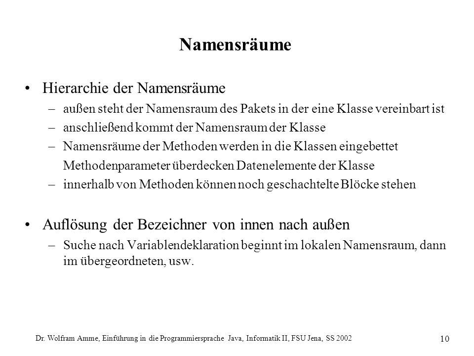 Dr. Wolfram Amme, Einführung in die Programmiersprache Java, Informatik II, FSU Jena, SS 2002 10 Namensräume Hierarchie der Namensräume –außen steht d