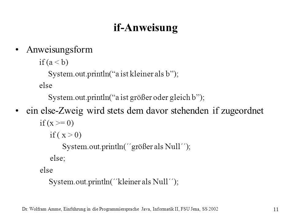 Dr. Wolfram Amme, Einführung in die Programmiersprache Java, Informatik II, FSU Jena, SS 2002 11 if-Anweisung Anweisungsform if (a < b) System.out.pri