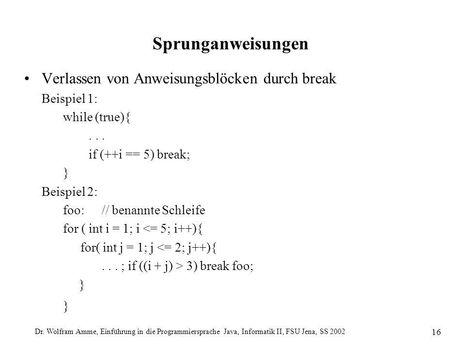 Dr. Wolfram Amme, Einführung in die Programmiersprache Java, Informatik II, FSU Jena, SS 2002 16 Sprunganweisungen Verlassen von Anweisungsblöcken dur