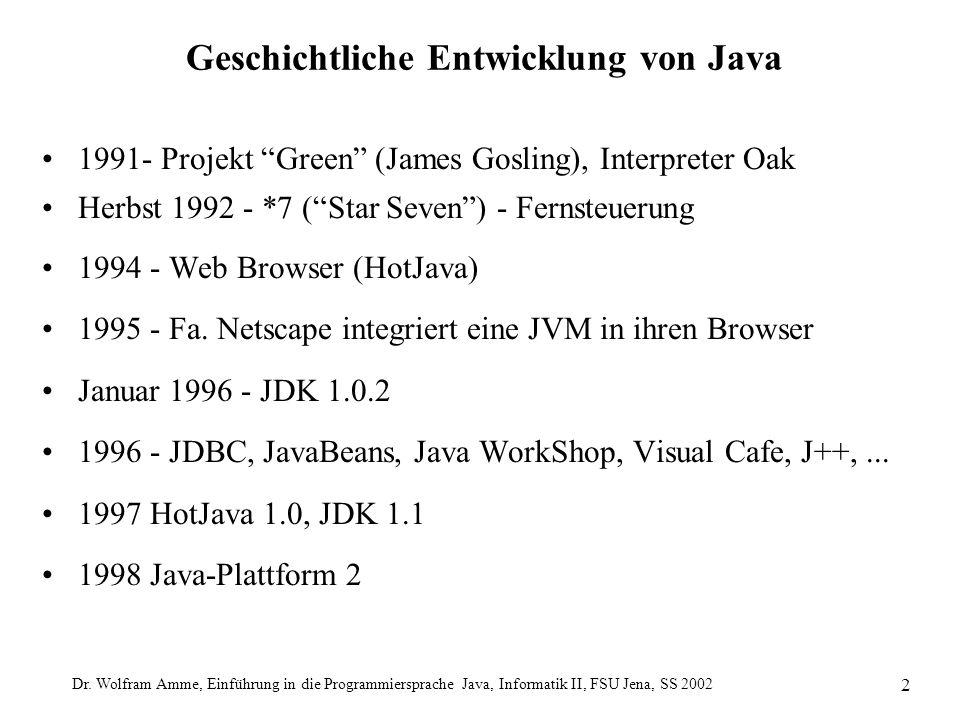 """Dr. Wolfram Amme, Einführung in die Programmiersprache Java, Informatik II, FSU Jena, SS 2002 2 Geschichtliche Entwicklung von Java 1991- Projekt """"Gre"""
