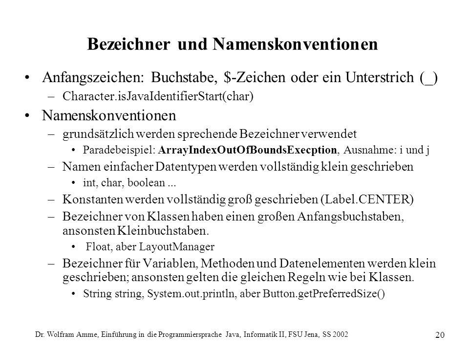 Dr. Wolfram Amme, Einführung in die Programmiersprache Java, Informatik II, FSU Jena, SS 2002 20 Bezeichner und Namenskonventionen Anfangszeichen: Buc