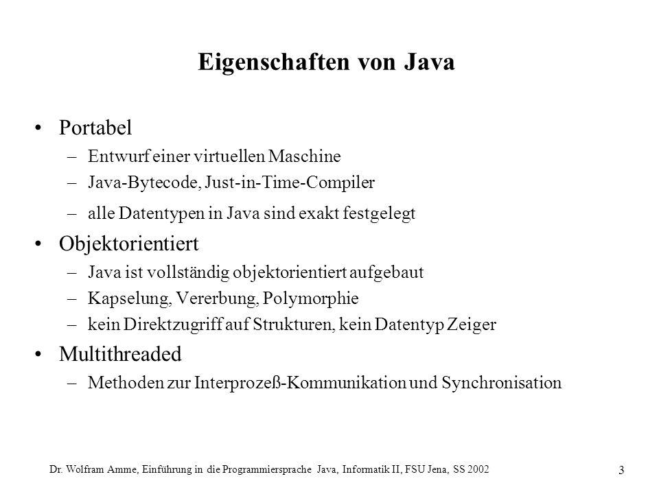 Dr. Wolfram Amme, Einführung in die Programmiersprache Java, Informatik II, FSU Jena, SS 2002 3 Eigenschaften von Java Portabel –Entwurf einer virtuel