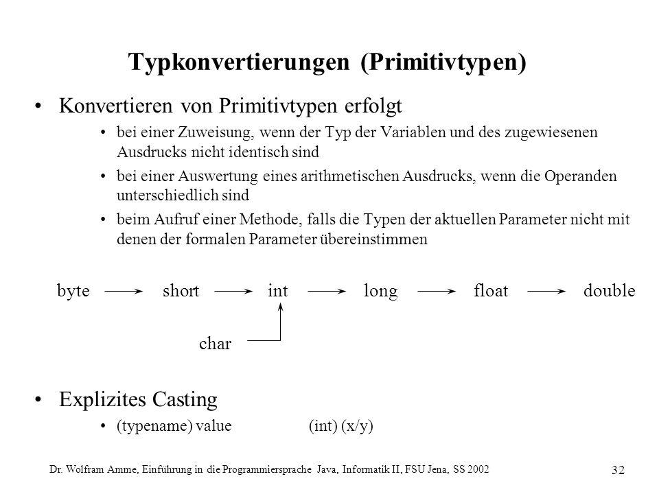 Dr. Wolfram Amme, Einführung in die Programmiersprache Java, Informatik II, FSU Jena, SS 2002 32 Typkonvertierungen (Primitivtypen) Konvertieren von P