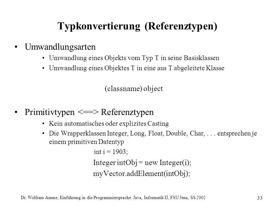 Dr. Wolfram Amme, Einführung in die Programmiersprache Java, Informatik II, FSU Jena, SS 2002 33 Typkonvertierung (Referenztypen) Umwandlungsarten Umw