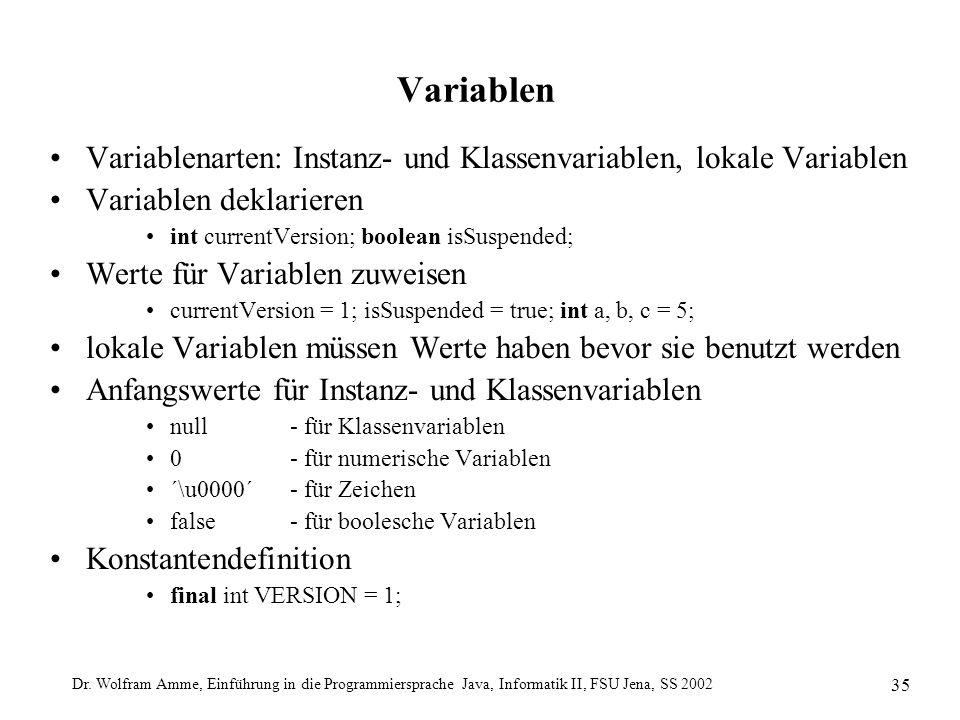Dr. Wolfram Amme, Einführung in die Programmiersprache Java, Informatik II, FSU Jena, SS 2002 35 Variablen Variablenarten: Instanz- und Klassenvariabl