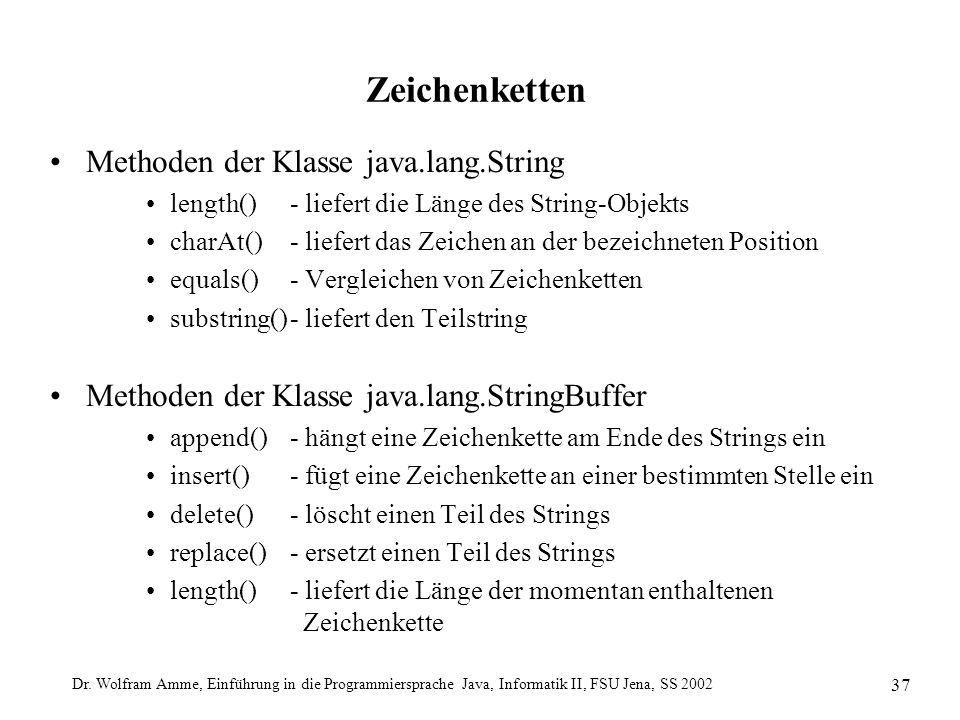 Dr. Wolfram Amme, Einführung in die Programmiersprache Java, Informatik II, FSU Jena, SS 2002 37 Zeichenketten Methoden der Klasse java.lang.String le