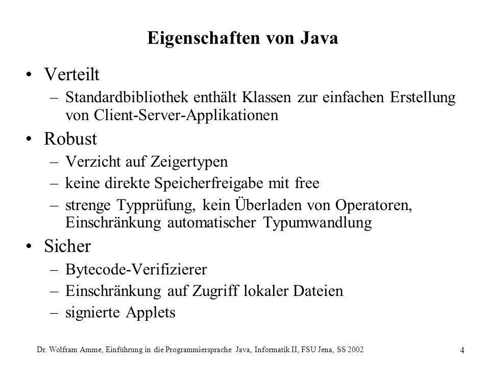 Dr. Wolfram Amme, Einführung in die Programmiersprache Java, Informatik II, FSU Jena, SS 2002 4 Eigenschaften von Java Verteilt –Standardbibliothek en
