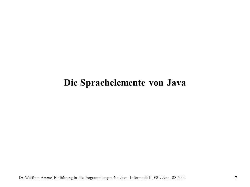 Dr. Wolfram Amme, Einführung in die Programmiersprache Java, Informatik II, FSU Jena, SS 2002 7 Die Sprachelemente von Java