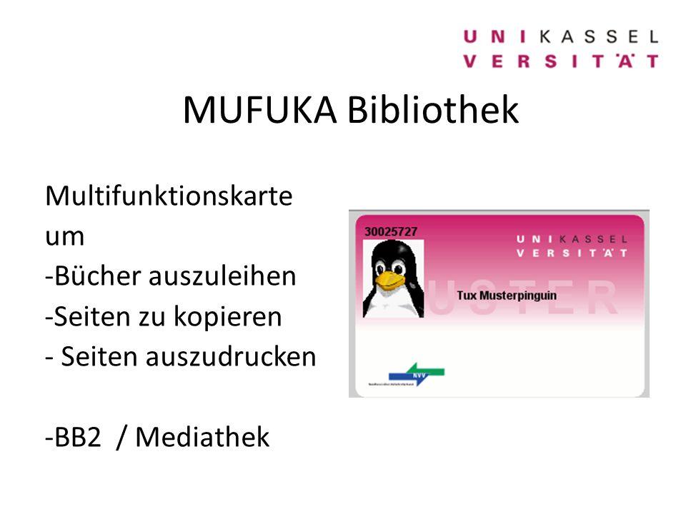 MUFUKA Bibliothek Multifunktionskarte um -Bücher auszuleihen -Seiten zu kopieren - Seiten auszudrucken -BB2 / Mediathek