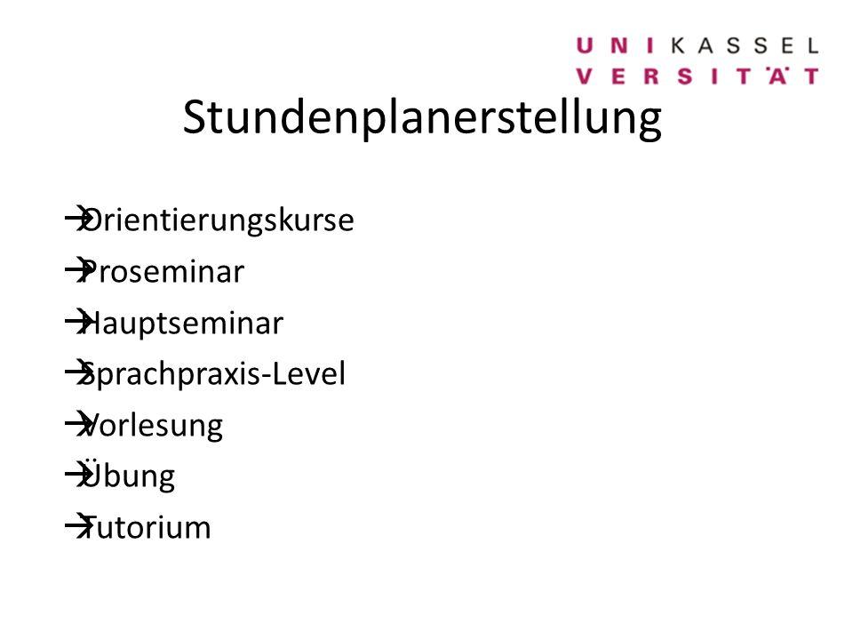 Stundenplanerstellung  Orientierungskurse  Proseminar  Hauptseminar  Sprachpraxis-Level  Vorlesung  Übung  Tutorium