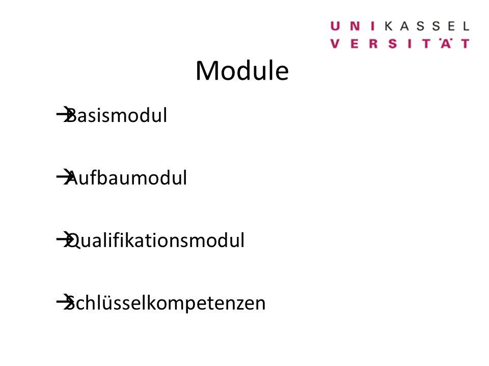 Module  Basismodul  Aufbaumodul  Qualifikationsmodul  Schlüsselkompetenzen