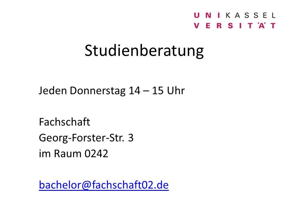 Studienberatung Jeden Donnerstag 14 – 15 Uhr Fachschaft Georg-Forster-Str.