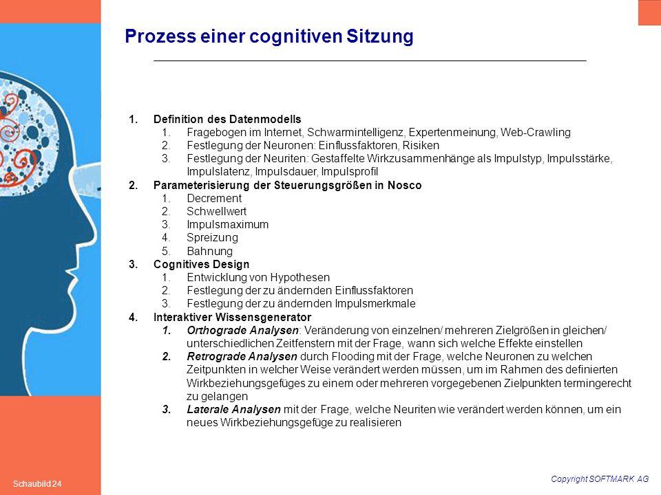 Copyright SOFTMARK AG Schaubild 24 1.Definition des Datenmodells 1.Fragebogen im Internet, Schwarmintelligenz, Expertenmeinung, Web-Crawling 2.Festleg