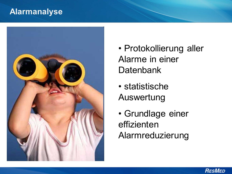 Alarmanalyse Protokollierung aller Alarme in einer Datenbank statistische Auswertung Grundlage einer effizienten Alarmreduzierung