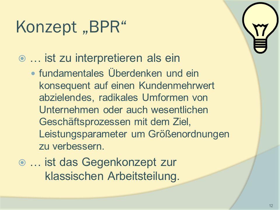 """Konzept """"BPR  … ist zu interpretieren als ein fundamentales Überdenken und ein konsequent auf einen Kundenmehrwert abzielendes, radikales Umformen von Unternehmen oder auch wesentlichen Geschäftsprozessen mit dem Ziel, Leistungsparameter um Größenordnungen zu verbessern."""