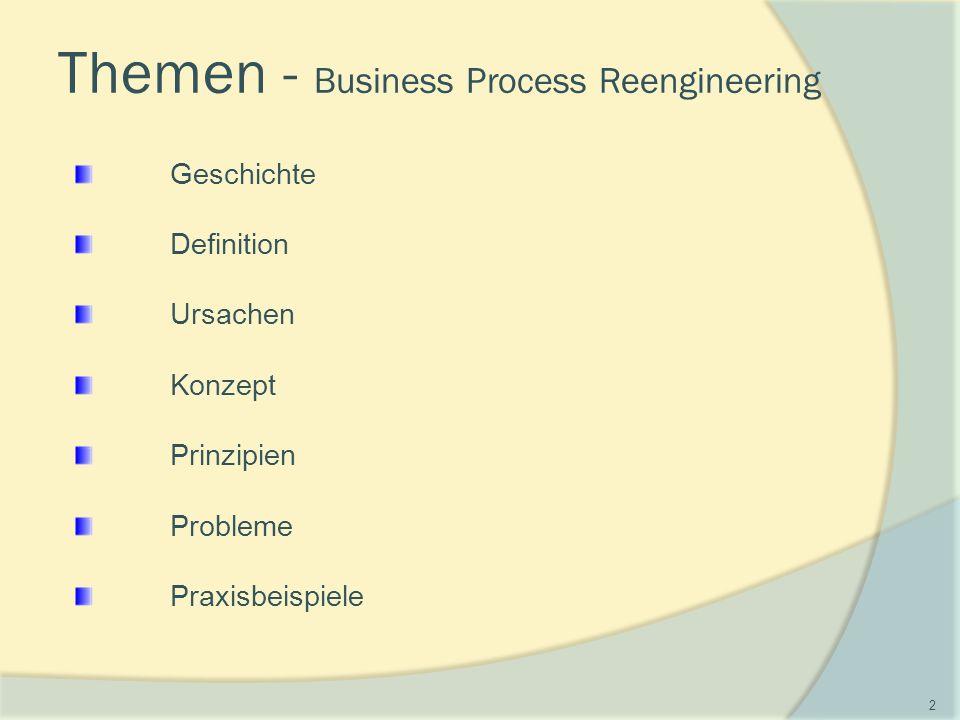 Geschichte Definition Ursachen Konzept Prinzipien Probleme Praxisbeispiele Themen - Business Process Reengineering 2