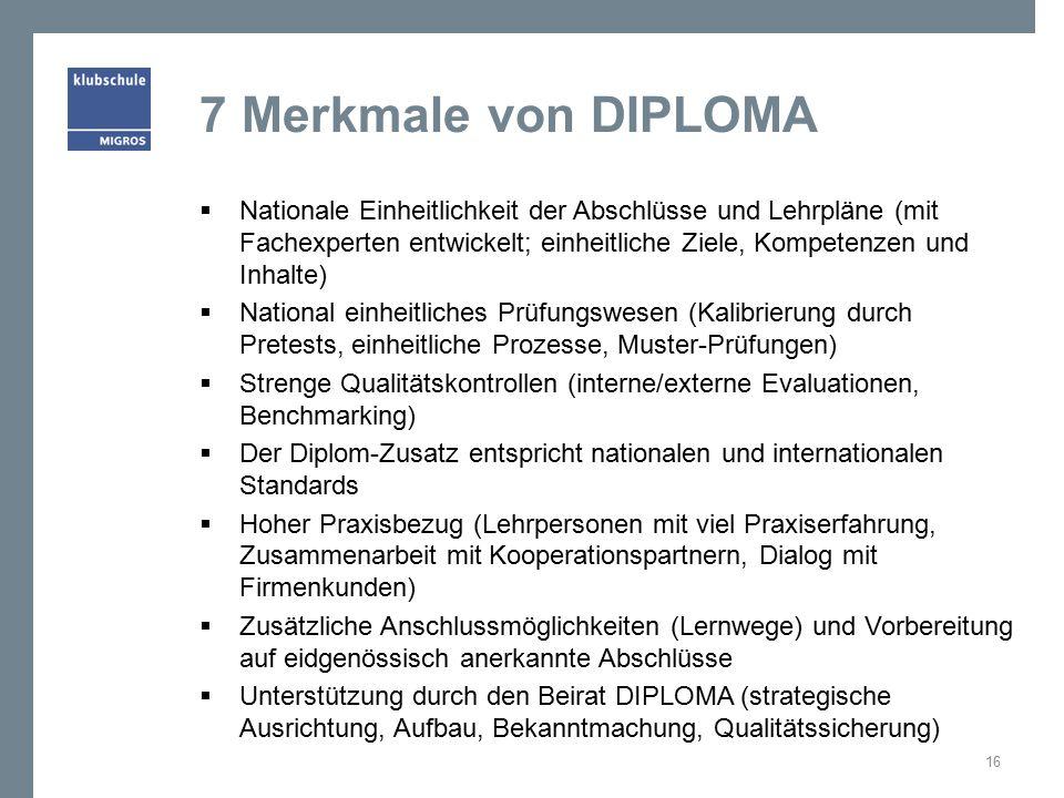 7 Merkmale von DIPLOMA  Nationale Einheitlichkeit der Abschlüsse und Lehrpläne (mit Fachexperten entwickelt; einheitliche Ziele, Kompetenzen und Inhalte)  National einheitliches Prüfungswesen (Kalibrierung durch Pretests, einheitliche Prozesse, Muster-Prüfungen)  Strenge Qualitätskontrollen (interne/externe Evaluationen, Benchmarking)  Der Diplom-Zusatz entspricht nationalen und internationalen Standards  Hoher Praxisbezug (Lehrpersonen mit viel Praxiserfahrung, Zusammenarbeit mit Kooperationspartnern, Dialog mit Firmenkunden)  Zusätzliche Anschlussmöglichkeiten (Lernwege) und Vorbereitung auf eidgenössisch anerkannte Abschlüsse  Unterstützung durch den Beirat DIPLOMA (strategische Ausrichtung, Aufbau, Bekanntmachung, Qualitätssicherung) 16