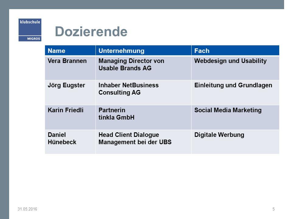 Dozierende 31.05.20165 NameUnternehmungFach Vera BrannenManaging Director von Usable Brands AG Webdesign und Usability Jörg EugsterInhaber NetBusiness