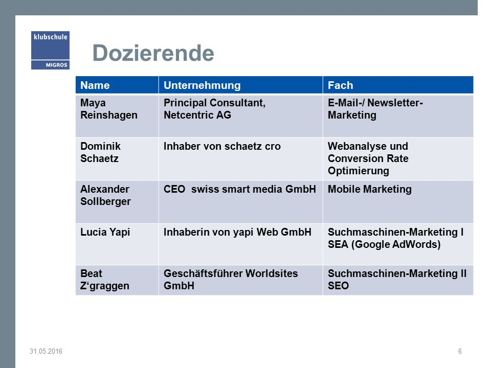 Dozierende 31.05.20166 NameUnternehmungFach Maya Reinshagen Principal Consultant, Netcentric AG E-Mail-/ Newsletter- Marketing Dominik Schaetz Inhaber von schaetz croWebanalyse und Conversion Rate Optimierung Alexander Sollberger CEO swiss smart media GmbHMobile Marketing Lucia YapiInhaberin von yapi Web GmbHSuchmaschinen-Marketing I SEA (Google AdWords) Beat Z'graggen Geschäftsführer Worldsites GmbH Suchmaschinen-Marketing II SEO