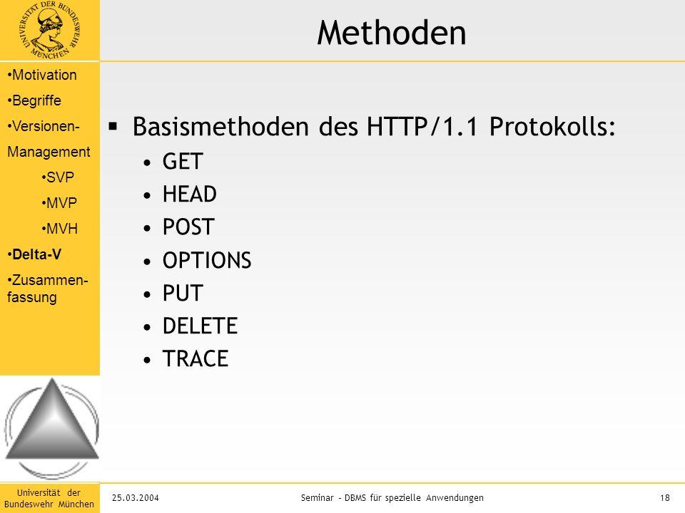 Universität der Bundeswehr München 18Seminar – DBMS für spezielle Anwendungen25.03.2004 Methoden  Basismethoden des HTTP/1.1 Protokolls: GET HEAD POST OPTIONS PUT DELETE TRACE Motivation Begriffe Versionen- Management SVP MVP MVH Delta-V Zusammen- fassung
