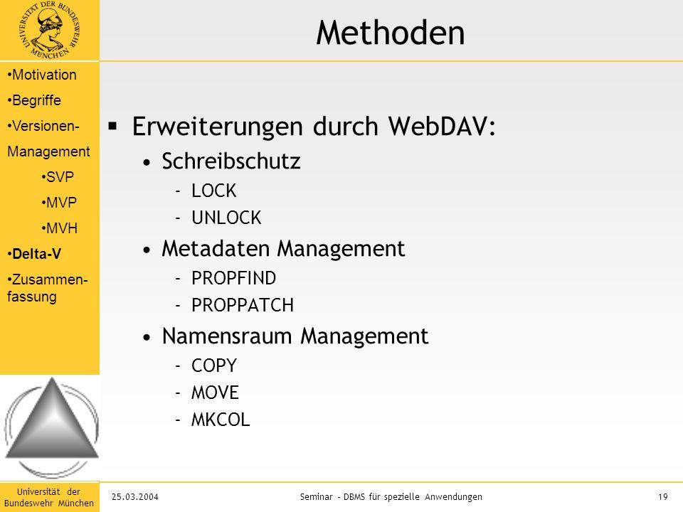 Universität der Bundeswehr München 19Seminar – DBMS für spezielle Anwendungen25.03.2004 Methoden  Erweiterungen durch WebDAV: Schreibschutz -LOCK -UNLOCK Metadaten Management -PROPFIND -PROPPATCH Namensraum Management -COPY -MOVE -MKCOL Motivation Begriffe Versionen- Management SVP MVP MVH Delta-V Zusammen- fassung