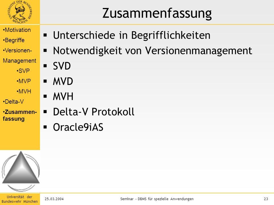 Universität der Bundeswehr München 23Seminar – DBMS für spezielle Anwendungen25.03.2004 Zusammenfassung  Unterschiede in Begrifflichkeiten  Notwendigkeit von Versionenmanagement  SVD  MVD  MVH  Delta-V Protokoll  Oracle9iAS Motivation Begriffe Versionen- Management SVP MVP MVH Delta-V Zusammen- fassung