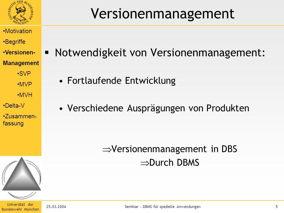 Universität der Bundeswehr München 5Seminar – DBMS für spezielle Anwendungen25.03.2004 Versionenmanagement  Notwendigkeit von Versionenmanagement: Fortlaufende Entwicklung Verschiedene Ausprägungen von Produkten  Versionenmanagement in DBS  Durch DBMS Motivation Begriffe Versionen- Management SVP MVP MVH Delta-V Zusammen- fassung
