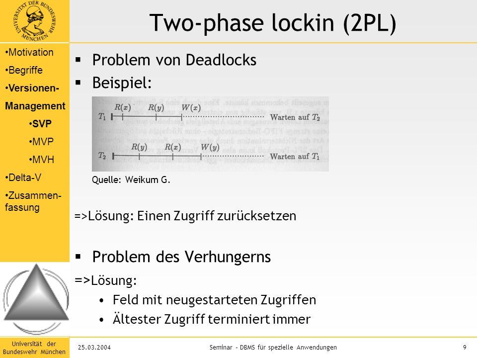 Universität der Bundeswehr München 9Seminar – DBMS für spezielle Anwendungen25.03.2004 Two-phase lockin (2PL)  Problem von Deadlocks  Beispiel: Quelle: Weikum G.