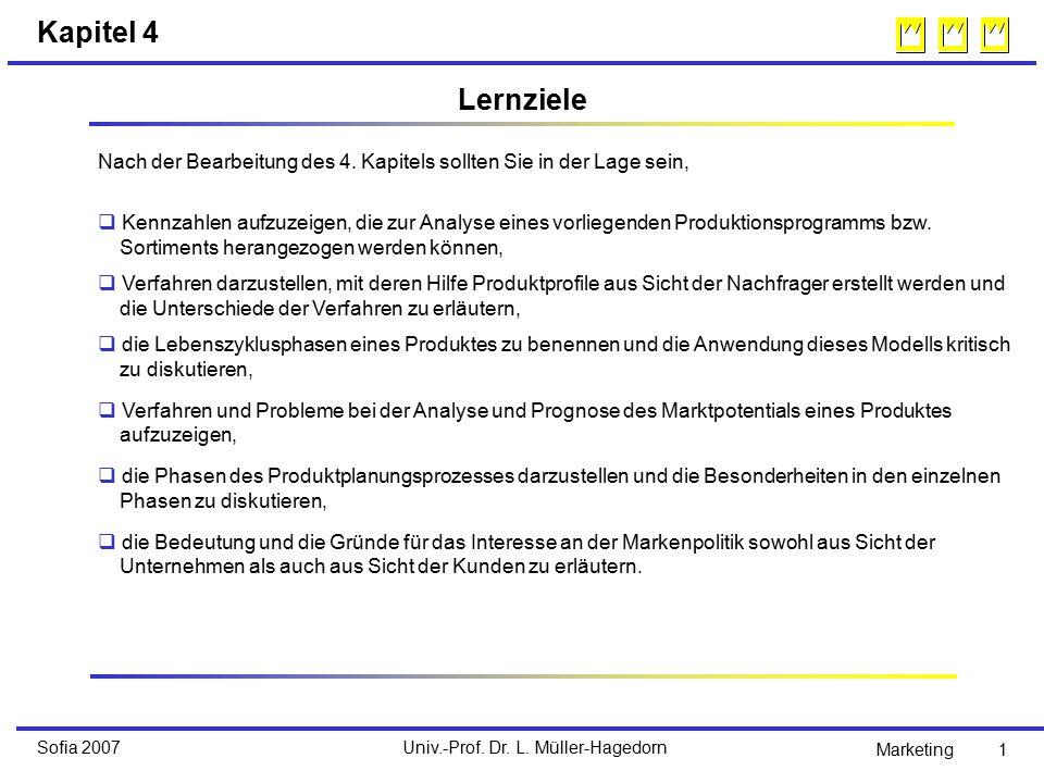 Univ.-Prof. Dr. L. Müller-HagedornSofia 2007 Marketing 1 Kapitel 4 Nach der Bearbeitung des 4.