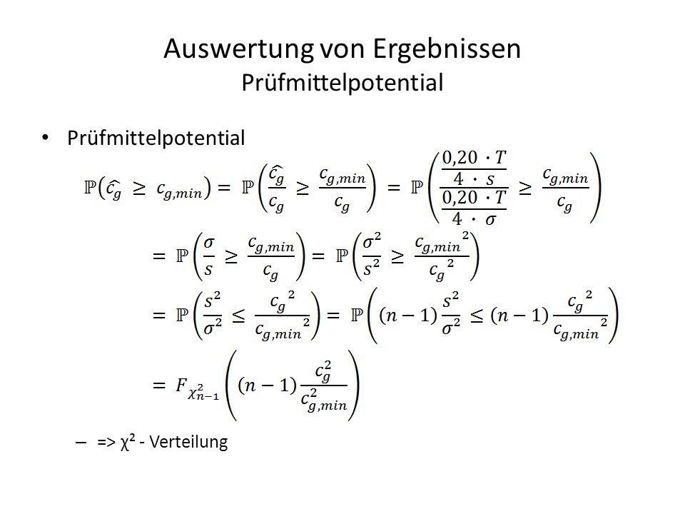 Auswertung von Ergebnissen Prüfmittelpotential Prüfmittelpotential – => χ² - Verteilung