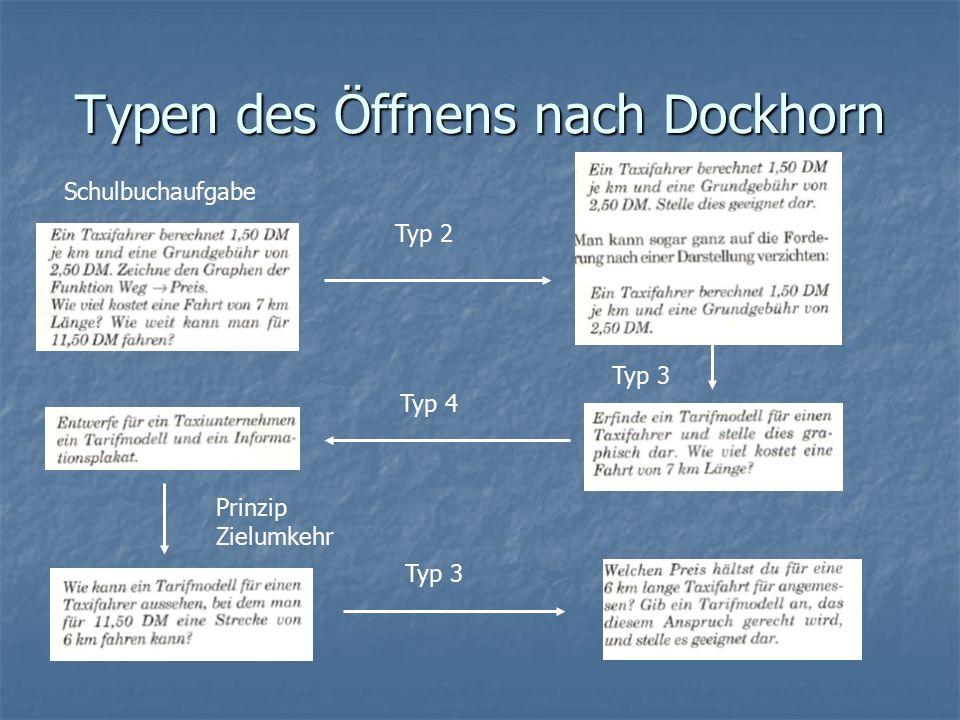 Typen des Öffnens nach Dockhorn Schulbuchaufgabe Typ 2 Typ 3 Typ 4 Prinzip Zielumkehr Typ 3