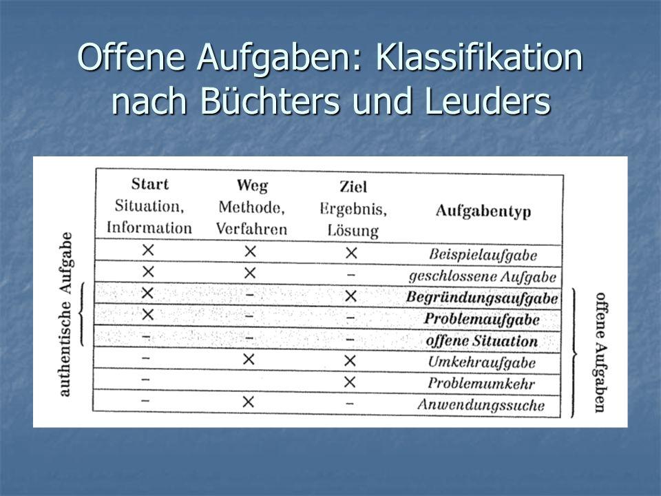Offene Aufgaben: Klassifikation nach Büchters und Leuders