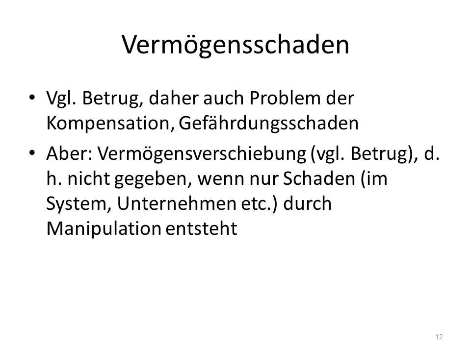 Vermögensschaden Vgl.